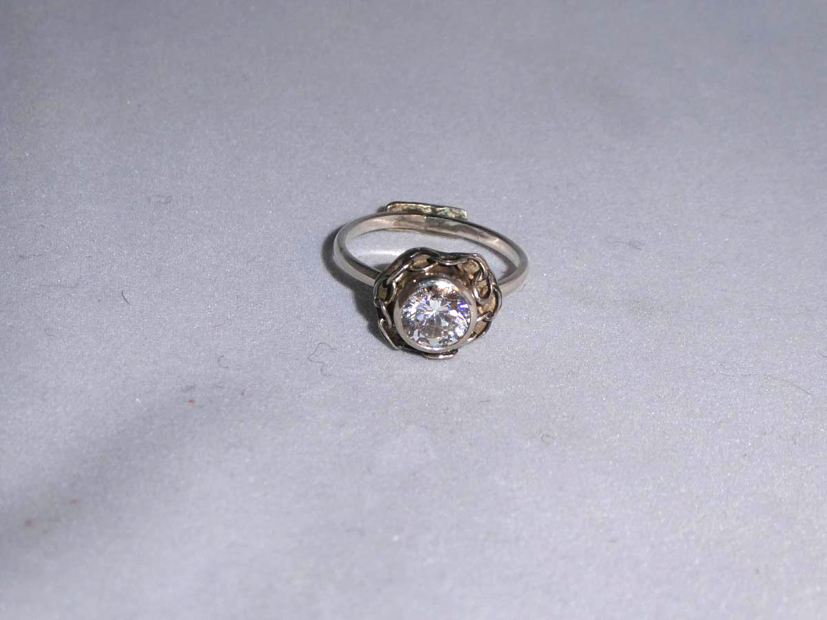 Ring diamant, cubic zirconia, silver