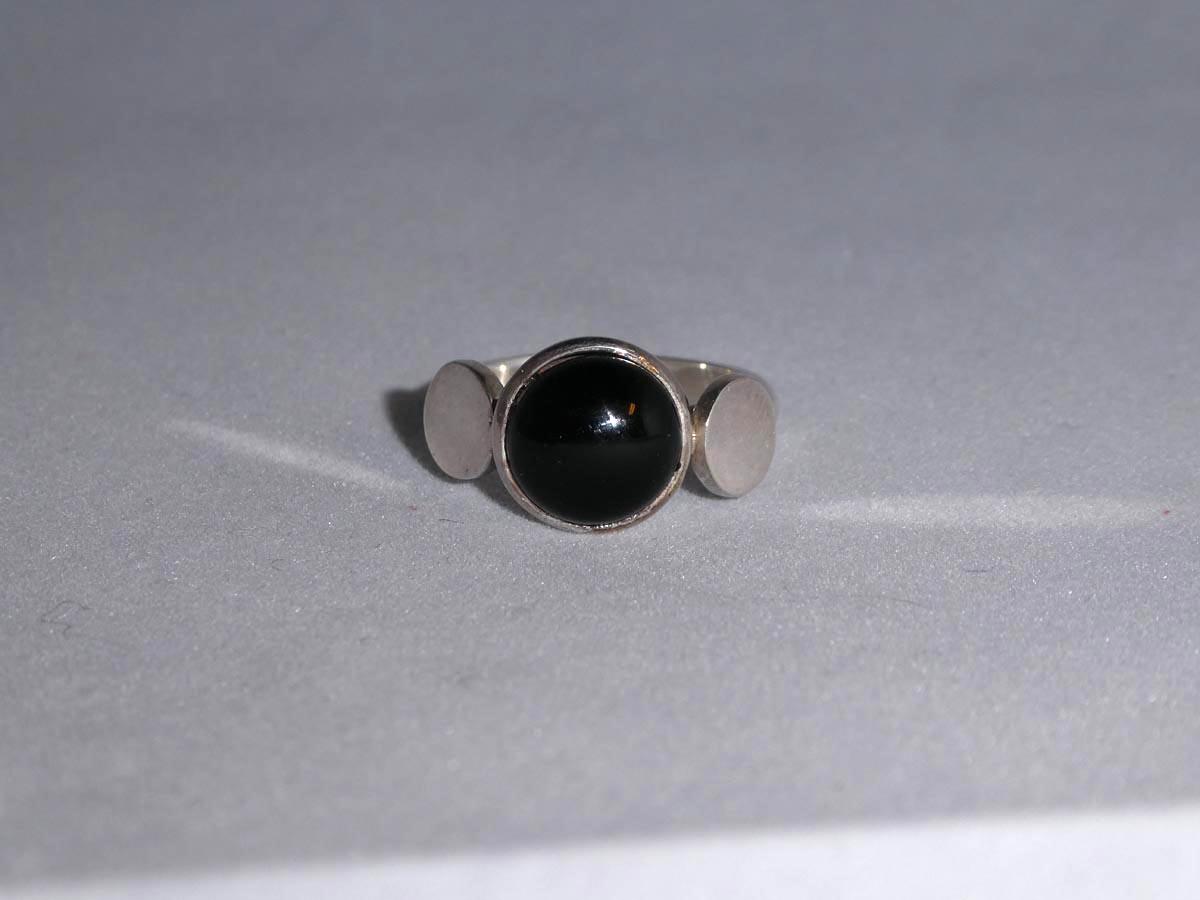 Ring med onyx och speglar silver, sterling silver 925